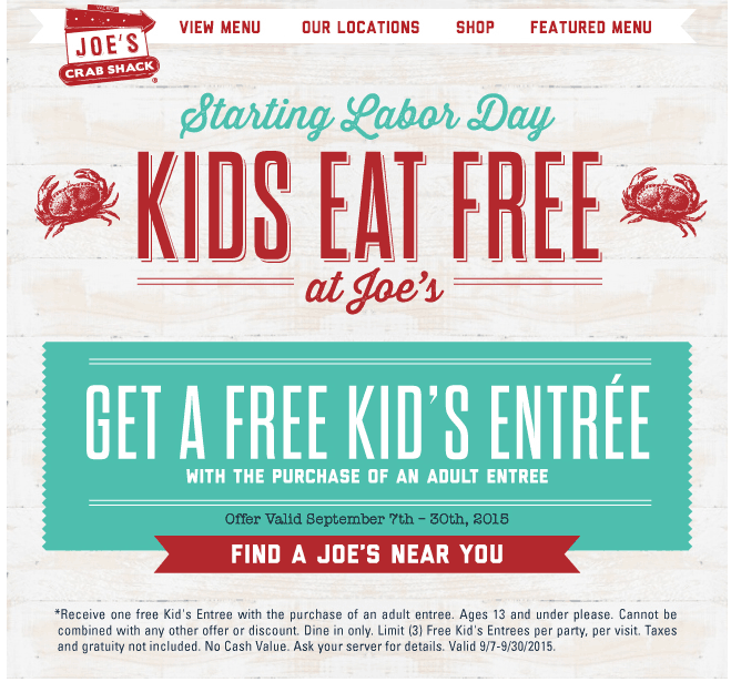 Joes Crab Shack Coupon October 2016 Kids eat free this month at Joes Crab Shack