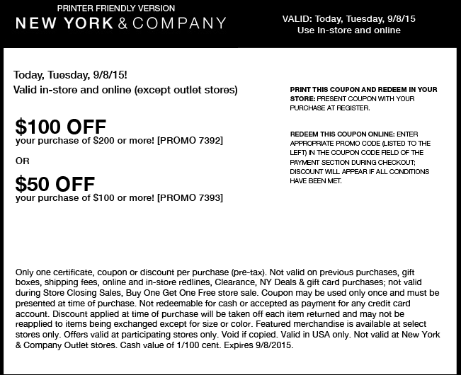 New York & Company Coupon July 2017 $50 off $100 & more today at New York & Company, or online via promo code 7393