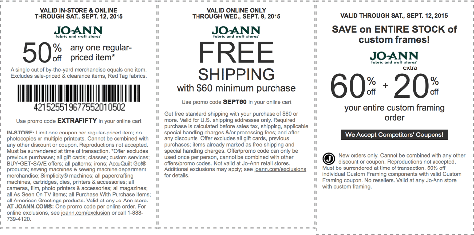 Jo-Ann Fabric Coupon June 2018 50% off a single item & more at Jo-Ann Fabric, or online via promo code EXTRAFIFTY