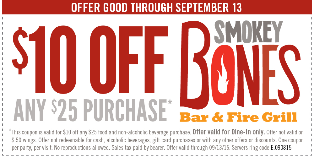 Smokey Bones Coupon May 2017 $10 off $25 at Smokey Bones bar & grill