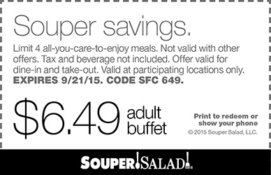 Souper Salad Coupon July 2017 $6.49 bottomless buffet at Souper Salad restaurants