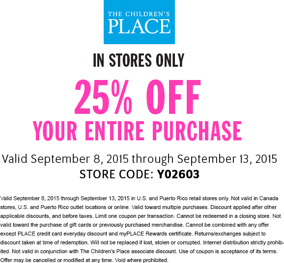 The Childrens Place Coupon September 2018 25% off everything at The Childrens Place