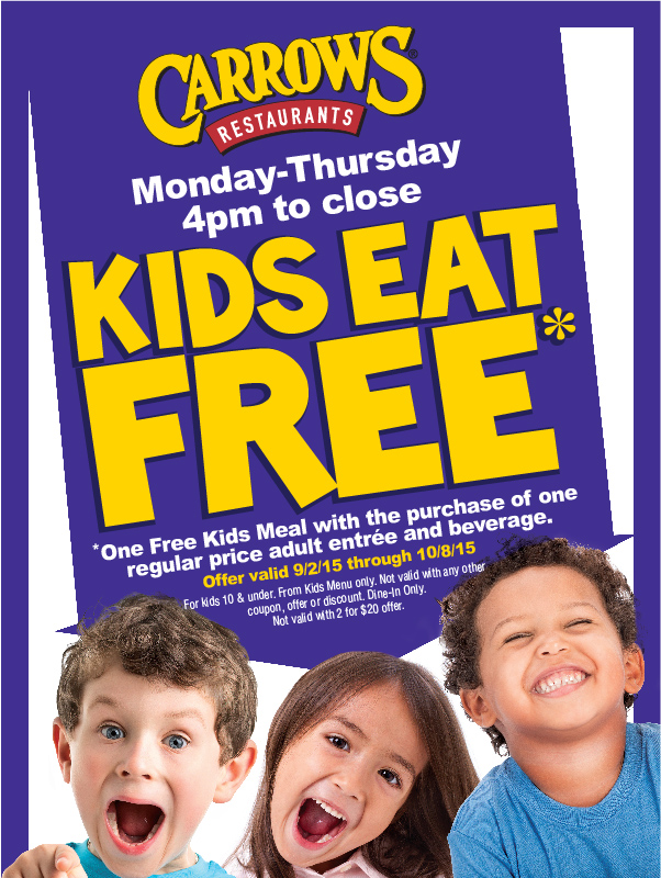 Carrows Coupon January 2018 Kids eat free with your entree Mon-Thur after 4pm at Carrows