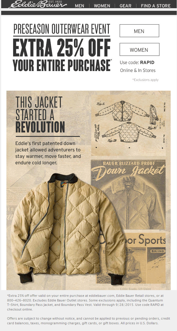 Eddie Bauer Coupon November 2018 Extra 25% off at Eddie Bauer, or online via promo code RAPID