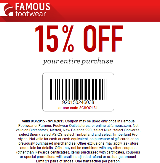 Famous Footwear Coupon August 2017 15% off everything at Famous Footwear, or online via promo code SCHOOL31