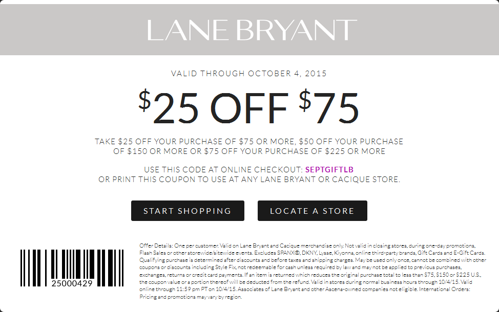 Lane Bryant Coupon October 2016 $25 off $75 at Lane Bryant, or online via promo code SEPTGIFTLB