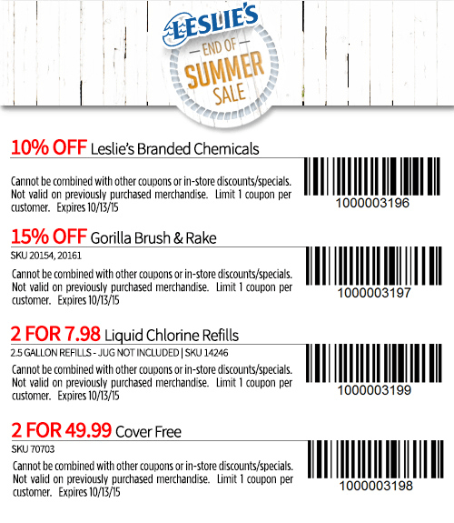 Leslies Pools Coupon December 2016 10% off chemicals, 2 for $8 chlorine & more at Leslies Pools supplies