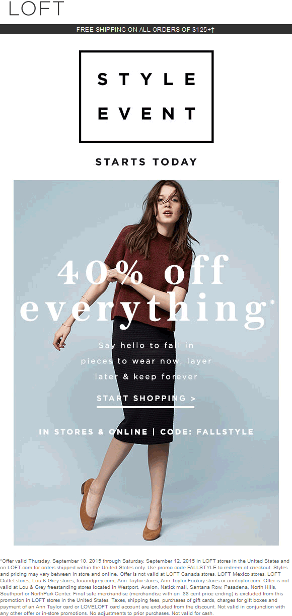 LOFT Coupon February 2019 40% off everything at LOFT, or online via promo code FALLSTYLE