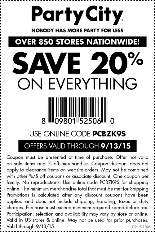 Party City Coupon August 2017 20% off at Party City, or online via promo code PCBZK9S