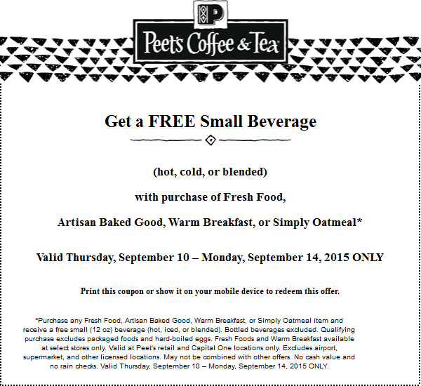 Peets Coffee & Tea Coupon July 2018 Free beverage with your food item at Peets Coffee & Tea