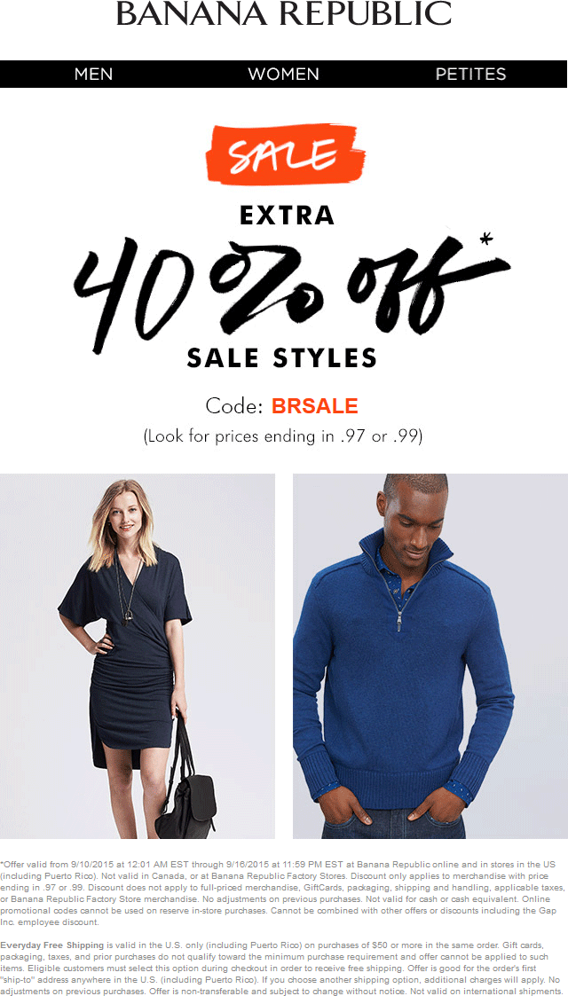 Banana Republic Coupon September 2017 Extra 40% off sale styles at Banana Republic, or online via promo code BRSALE