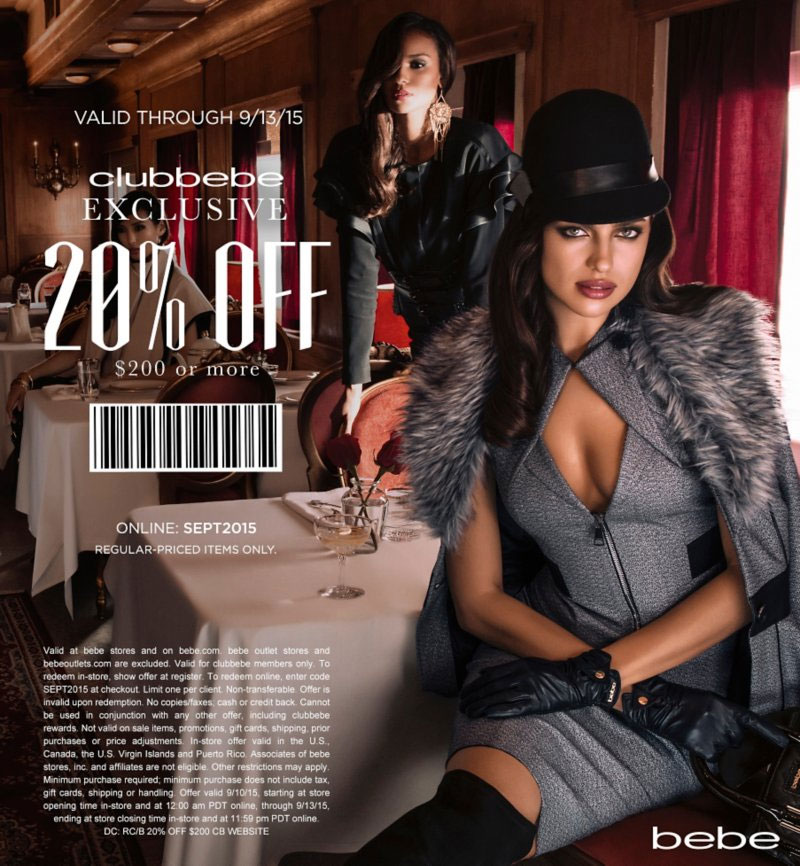 Bebe Coupon September 2017 20% off $200 at bebe, or online via promo code SEPT2015