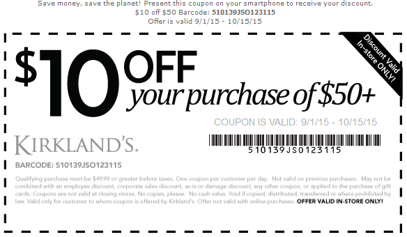 Kirklands Coupon May 2018 $10 off $50 at Kirklands