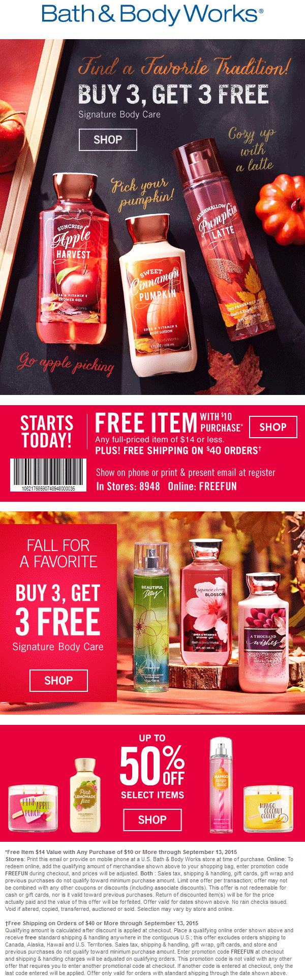 Bath & Body Works Coupon August 2017 $14 item free with $10 spent at Bath & Body Works, or online via promo code FREEFUN
