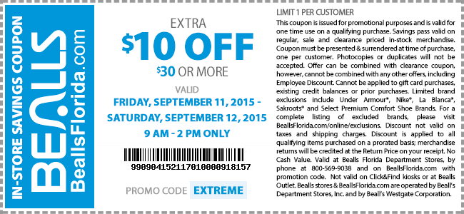 Bealls Coupon July 2017 $10 off $30 today til 2pm at Bealls, or online via promo code EXTREME