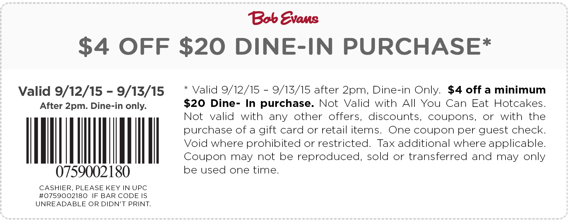 Bob Evans Coupon December 2017 $4 off $20 after 2pm at Bob Evans restaurants
