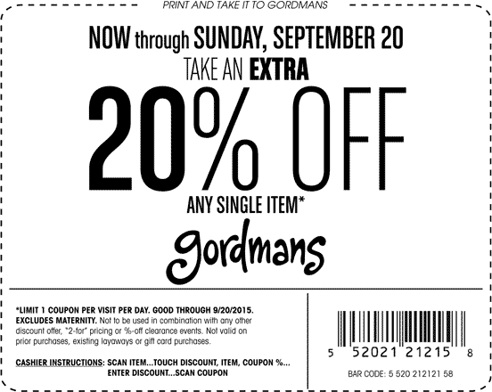 Gordmans Coupon April 2017 20% off a single item at Gordmans, ditto online