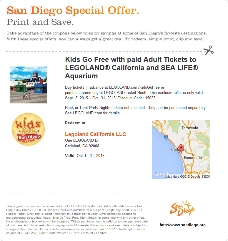Legoland.com Promo Coupon Free kids with adults at the gate of LEGOLAND California, or in advance online via promo code 15025