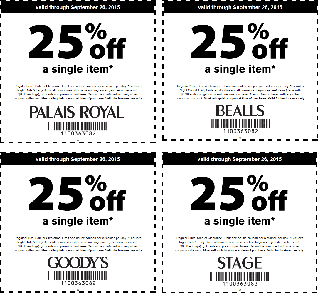 Bealls Coupon July 2018 25% off a single item at Goodys, Palais Royal, Bealls & Stage stores