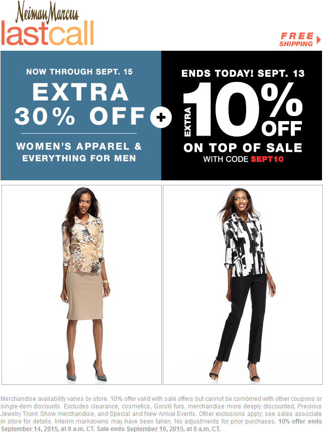 Last Call Coupon April 2018 Extra 30% off at Neiman Marcus Last Call, ditto online