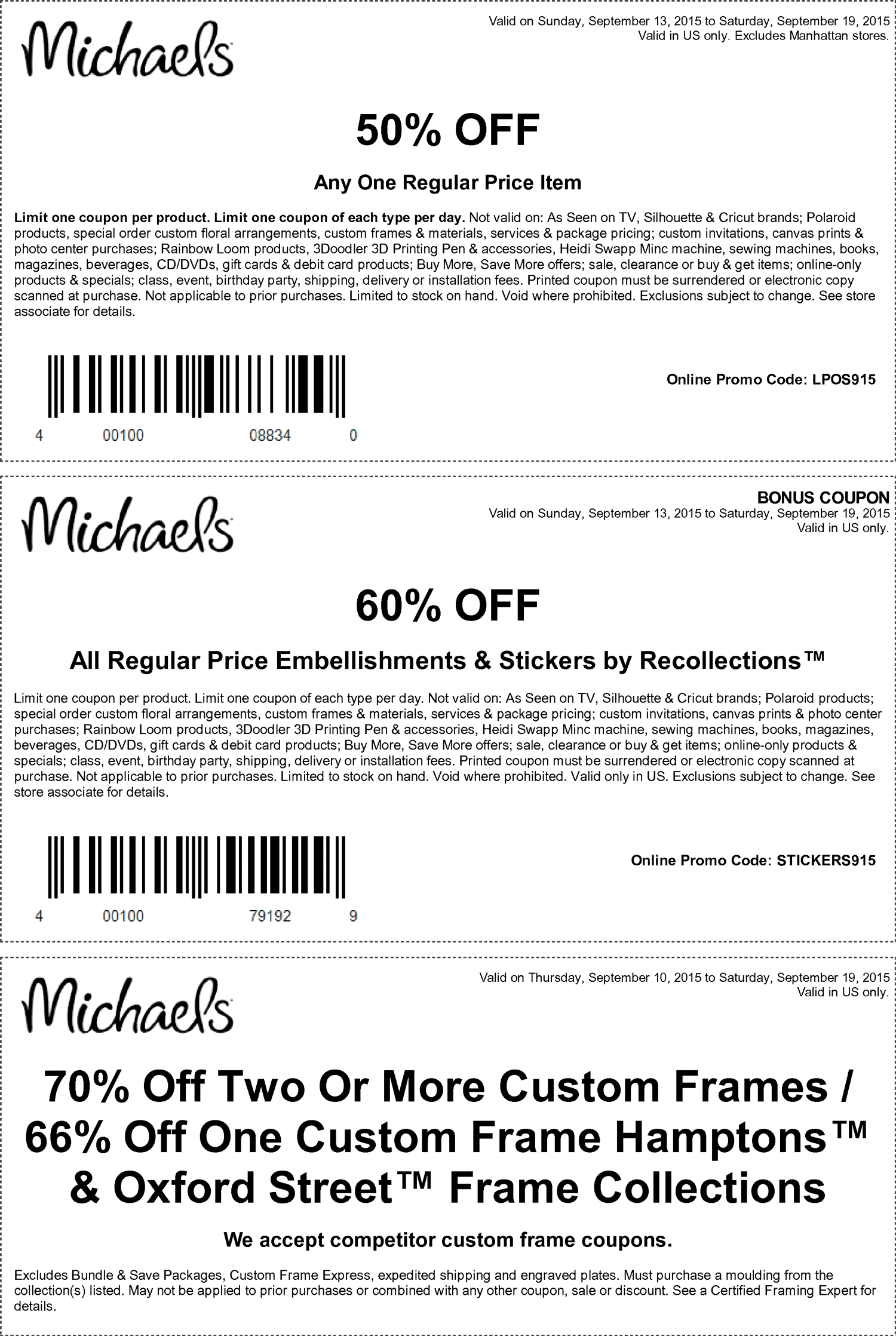 Michaels Coupon September 2017 50% off a single item at Michaels, or online via promo code LPOS915