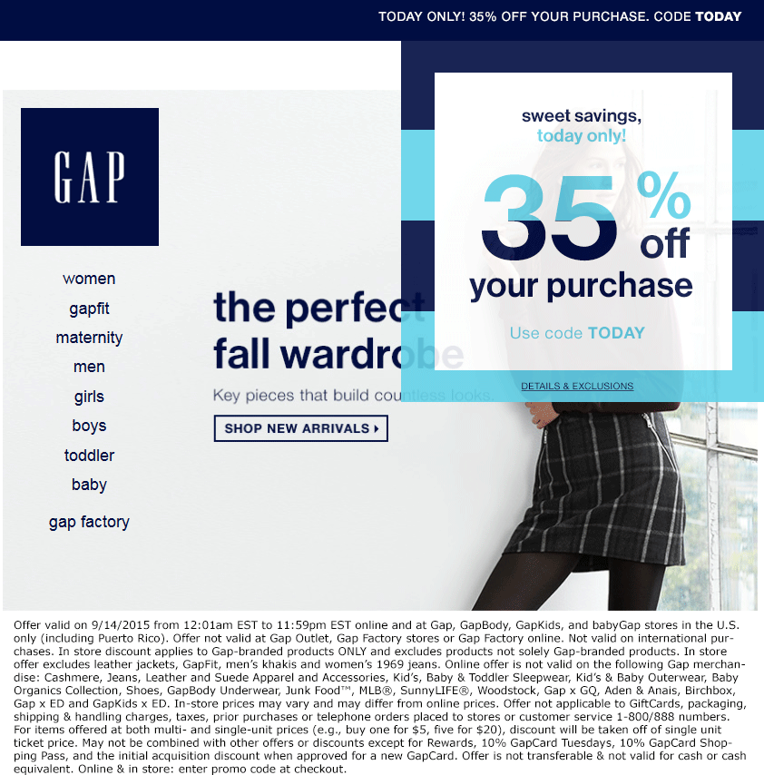 Gap Coupon March 2017 35% off today at Gap, GapBody, GapKids, and babyGap, or online via promo code TODAY