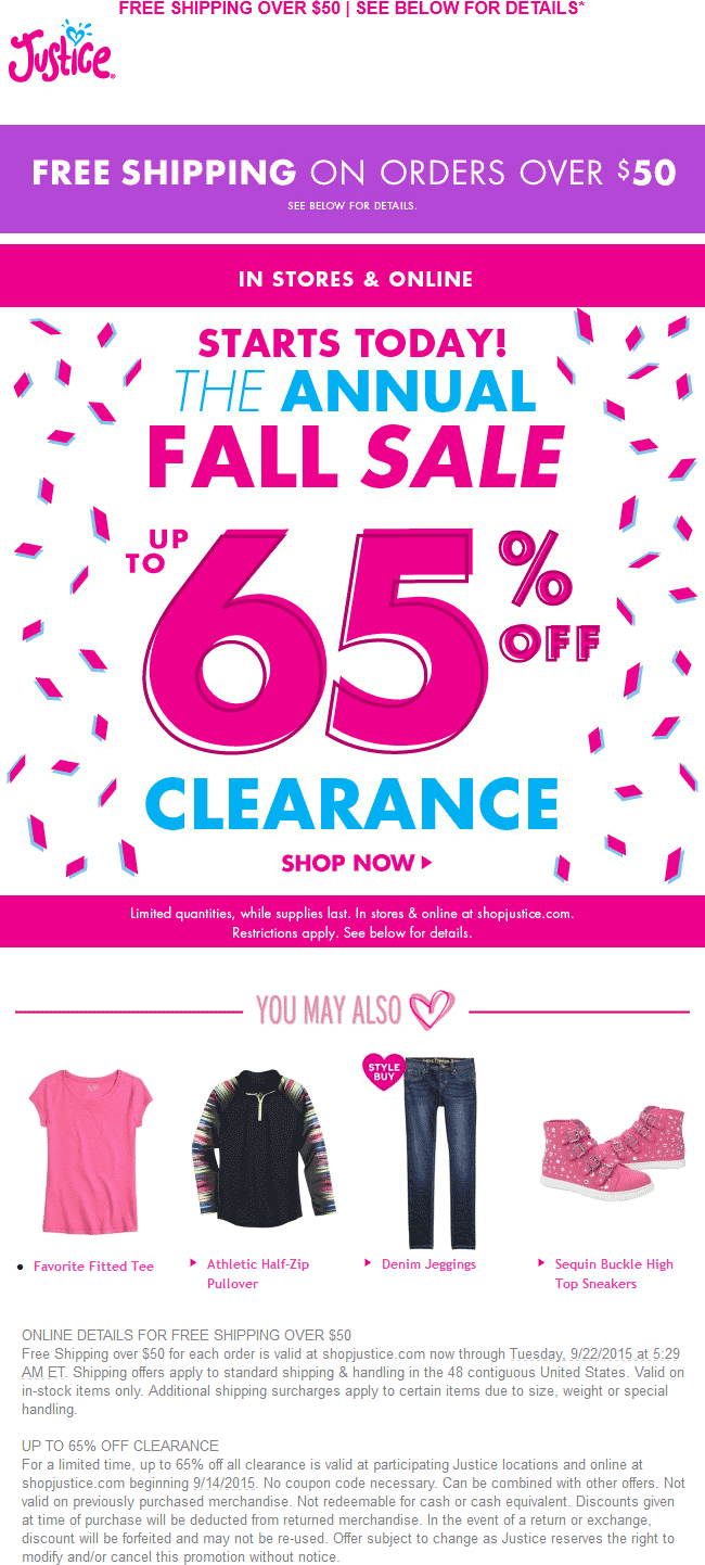 Justice Coupon December 2017 65% off clearance sale going on at Justice for girls, ditto online