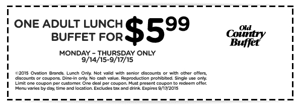 Old Country Buffet Coupon May 2017 $6 buck bottomless lunch at Old Country Buffet