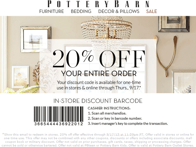 Pottery Barn Coupon August 2017 20% off everything at Pottery Barn