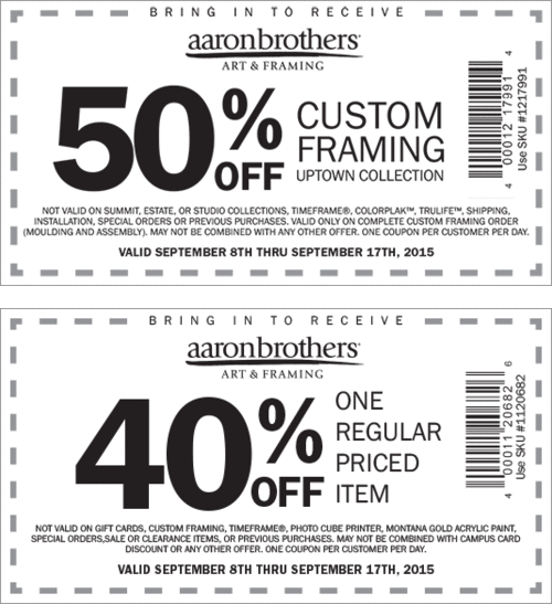 Aaron Brothers Coupon October 2017 40% off a single item & more at Aaron Brothers art & framing