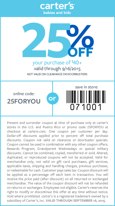 Carters Coupon February 2017 25% off $40 at Carters, or online via promo code 25FORYOU