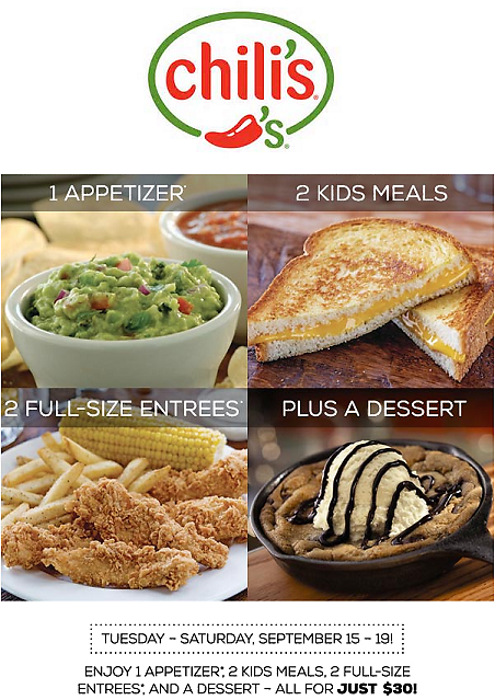 Chilis Coupon October 2016 Appetizer + 2 entrees + 2 kids meals + dessert = $30 at Chilis