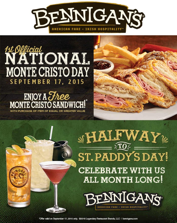 Bennigans.com Promo Coupon Second monte cristo sandwich free Thursday at Bennigans