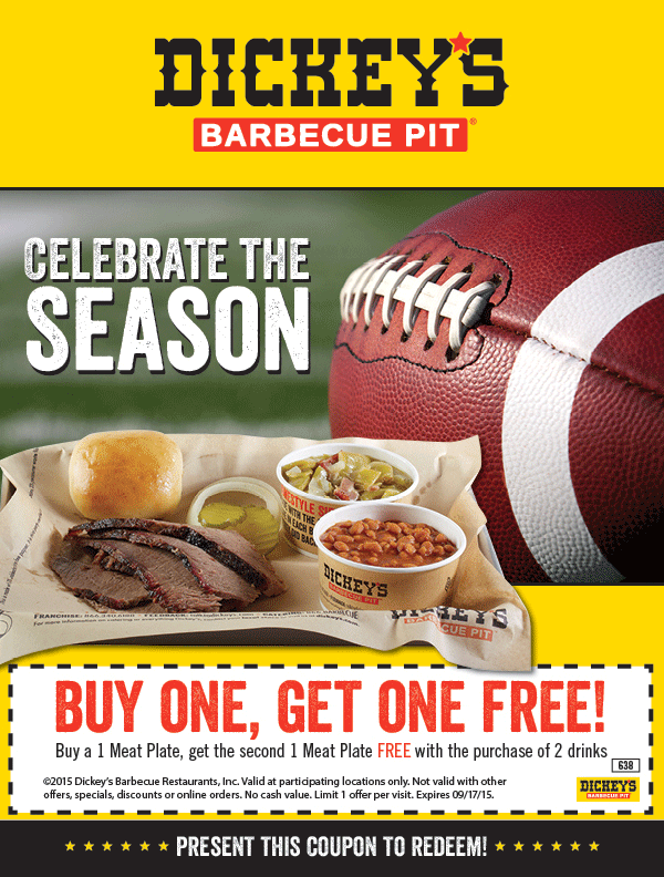 Dickeys Barbecue Pit Coupon June 2017 Second meat plate free at Dickeys Barbecue Pit restaurants