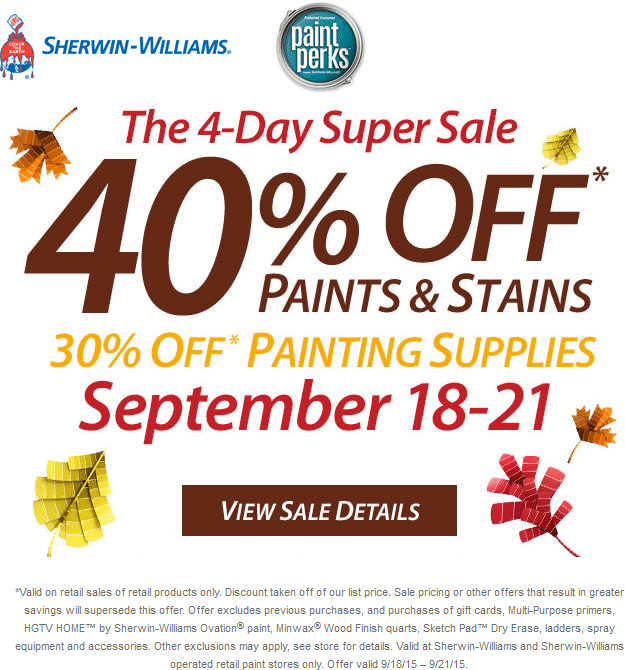 Sherwin Williams Coupon November 2018 40% off paint, 30% off supplies at Sherwin Williams