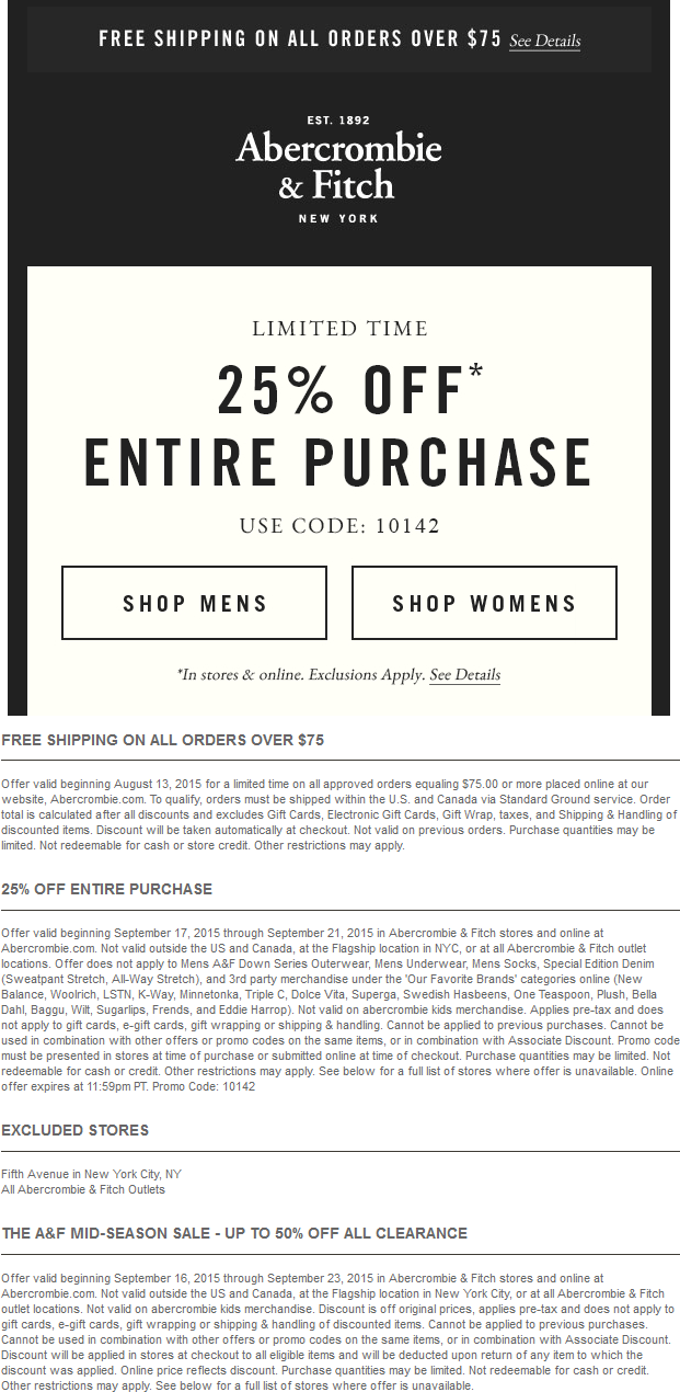Abercrombie & Fitch Coupon October 2016 25% off at Abercrombie & Fitch, or online via promo code 10142