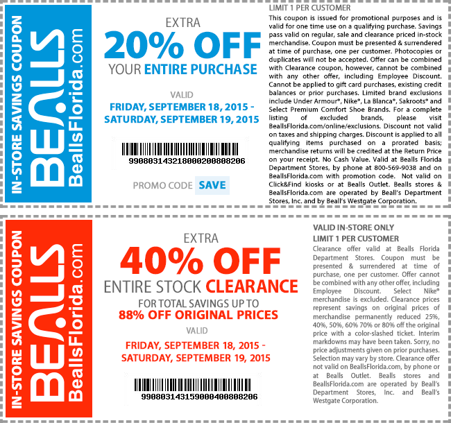 Bealls Coupon December 2016 20% off regular, 40% off clearance at Bealls, or online via promo code SAVE