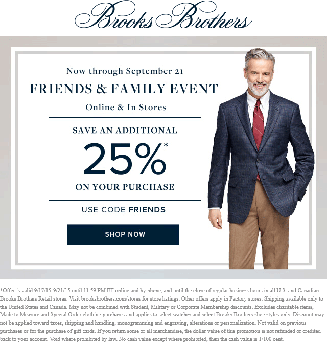 Brooks Brothers Coupon April 2017 25% off at Brooks Brothers, or online via promo code FRIENDS