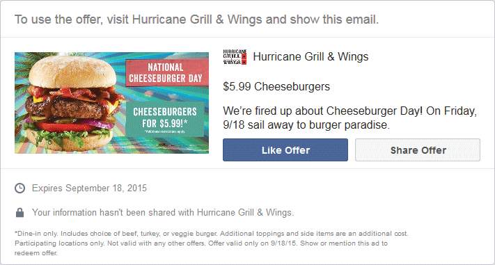 Hurricane Grill & Wings Coupon October 2016 $9 steakburger for $6 today at Hurricane Grill & Wings