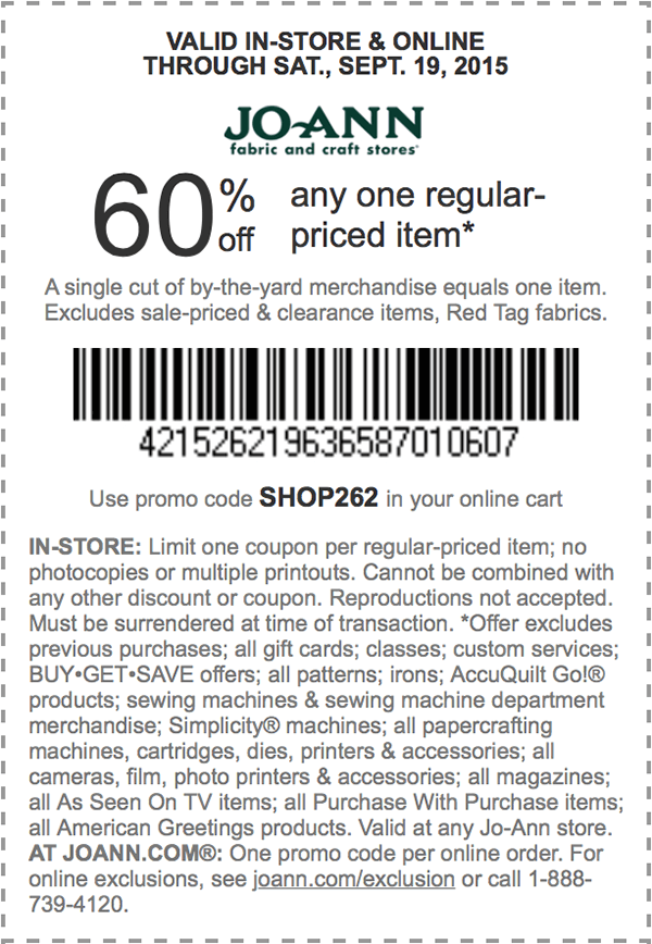 Jo-Ann Fabric Coupon May 2017 60% off a single item at Jo-Ann Fabric, or online via promo code SHOP262