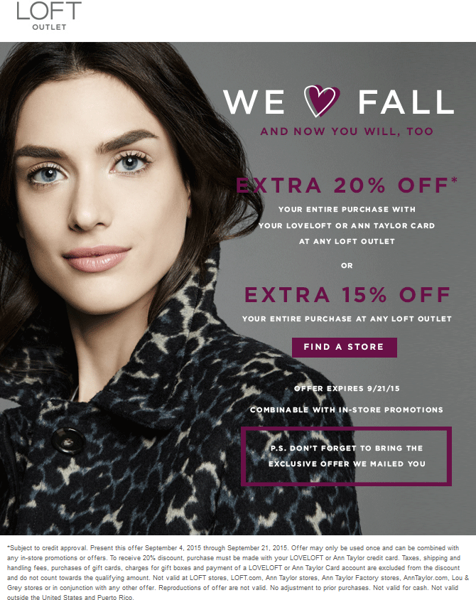LOFT Outlet Coupon July 2018 Extra 15% off at LOFT Outlet locations