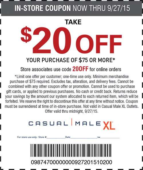 Casual Male XL Coupon January 2017 $20 off $75 at Casual Male XL, or online via promo code 20OFF