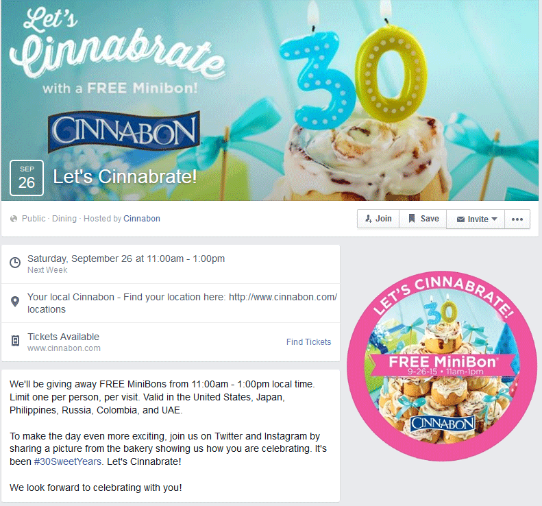 Cinnabon Coupon December 2017 Free minibons the 26th at Cinnabon