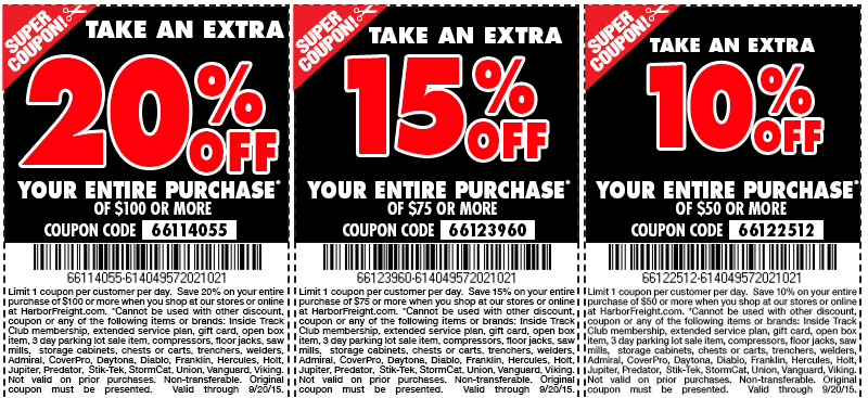 Harbor Freight Coupon April 2017 10-20% off everything at Harbor Freight Tools, or online via promo code 66122512