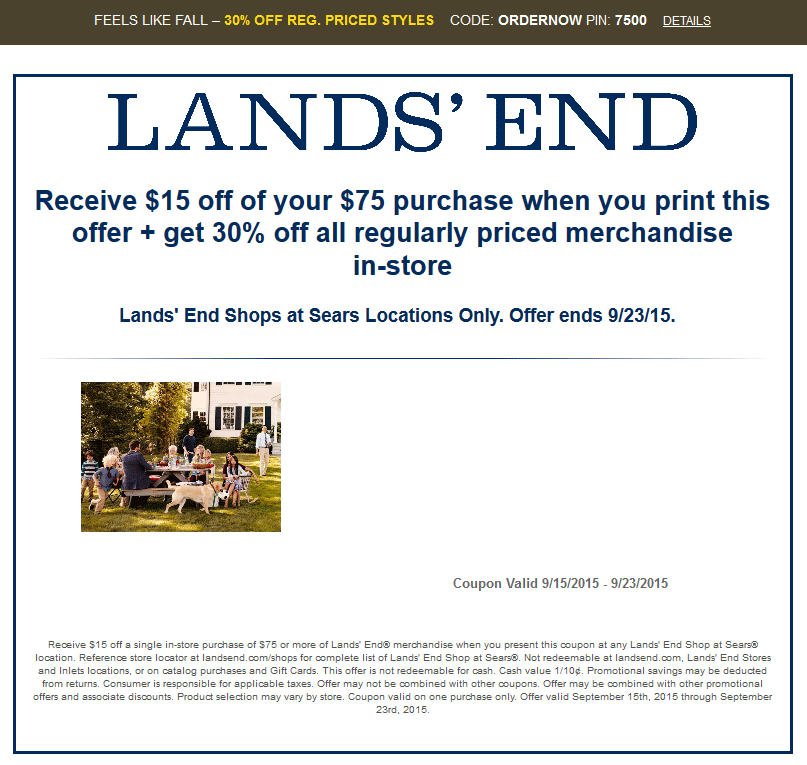 Lands End Coupon January 2017 30% off & more at Sears Lands End, or online via promo code ORDERNOW and pin 7500
