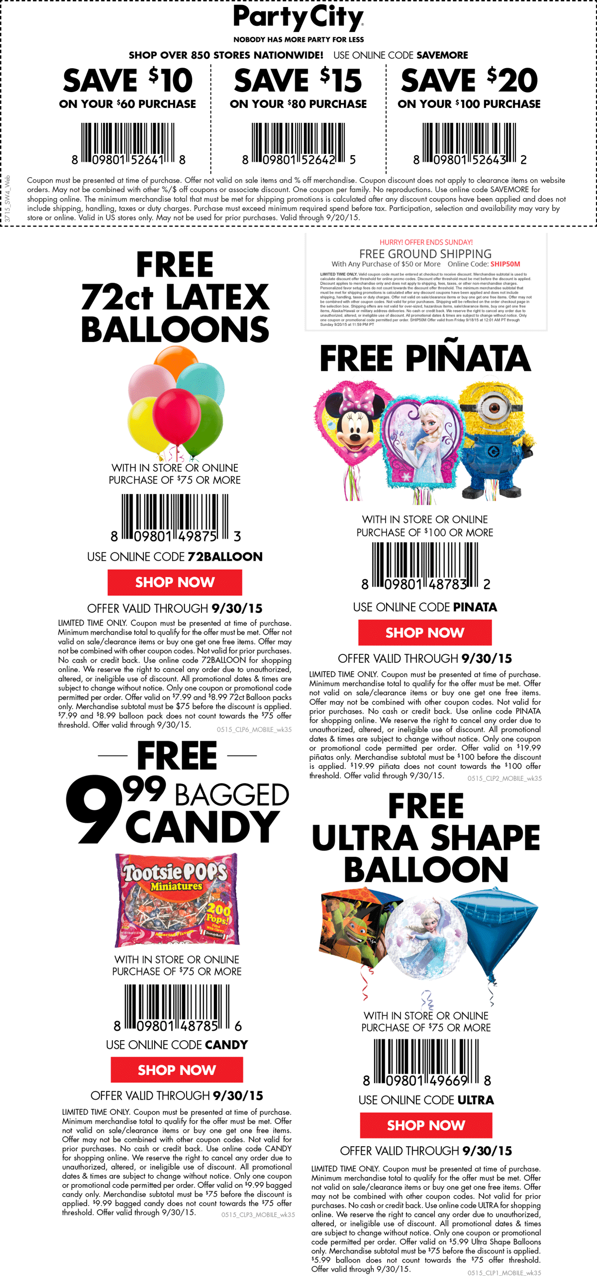 Party City Coupon June 2017 $10 off $60 + various freebies at Party City, or online via promo code SAVEMORE
