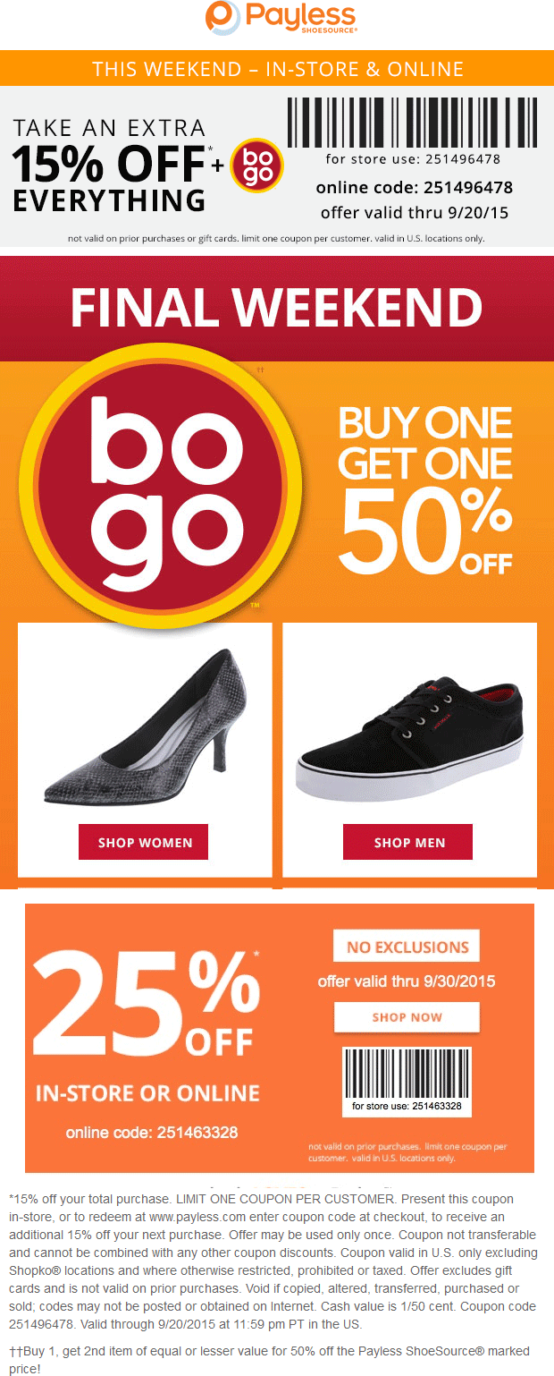 Payless Coupon November 2017 15% off + second pair free at Payless Shoesource, or online via promo code 251496478