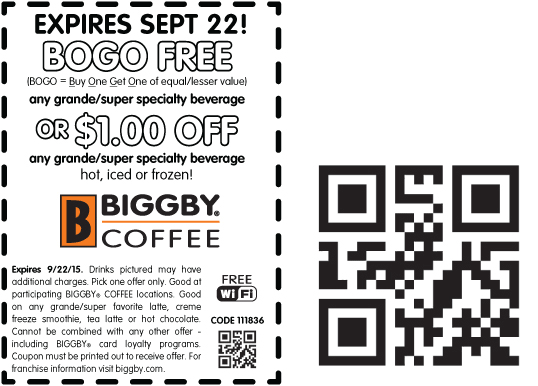 Biggby Coffee Coupon June 2018 Second drink free at Biggby Coffee