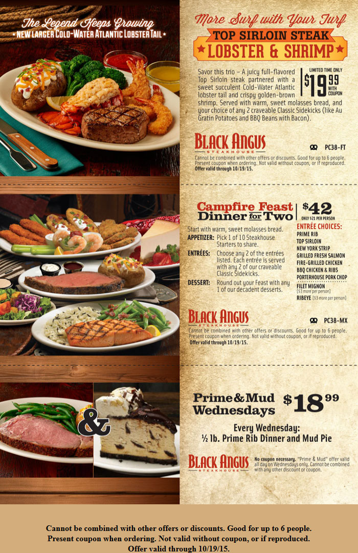 Black Angus Coupon September 2018 Sirloin steak + lobster + shrimp + 2 sides = $20 at Black Angus steakhouse