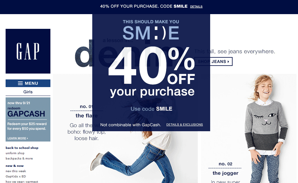 Gap Coupon August 2017 40% off today at Gap, or online via promo code SMILE